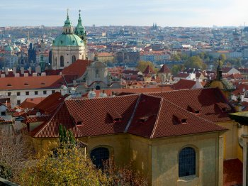 Panoramic view over Prague through the top of the hill