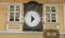 Information Stone About Jan Neruda In Prague Stock Video